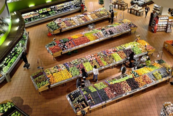 supermarket produce from above, icon ev electric vehicles